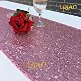 LQIAO Sequin Table Runner Pink Gold 12x108-in, Factory Best Sparkly Table Runner High End Party/Wedding/Christmas Decoration, Pack of 20 PCS