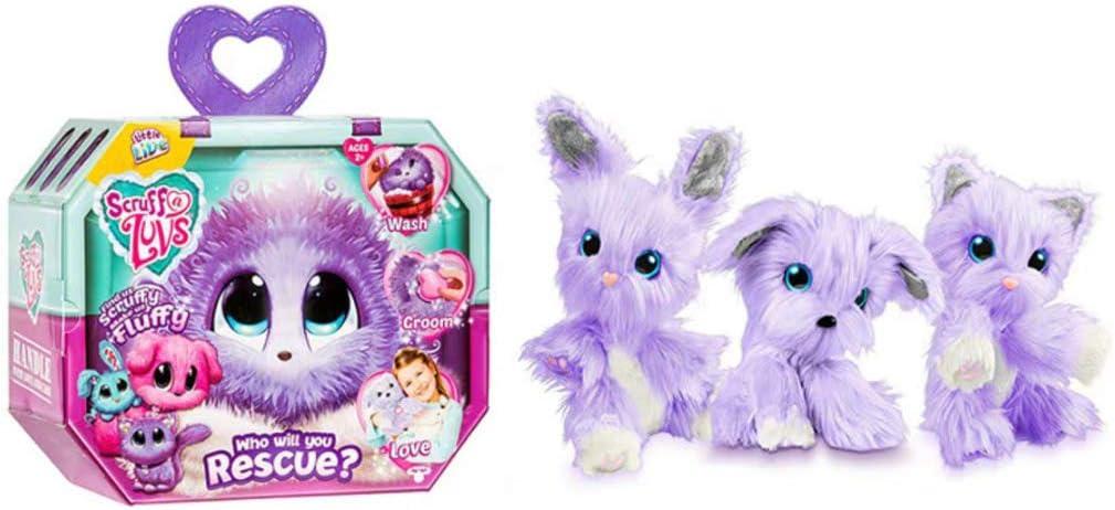 Juguete de Peluche Sorpresa Scruff, un Regalo para niños de Luvs para desarrollar una Mascota de baño: Conejo, Gato o Perro Purpledog,Purplerabbit