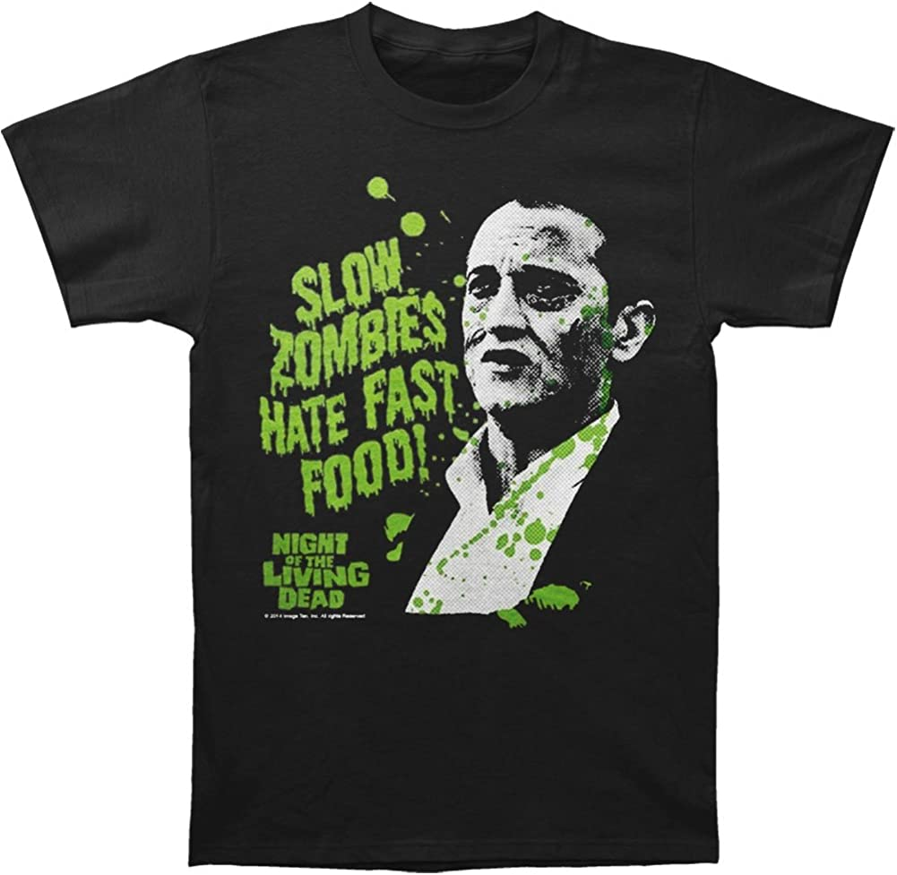 Night of the Living Dead Men's Slow Zombies Hate Fast Food Slim Fit T-Shirt Grey