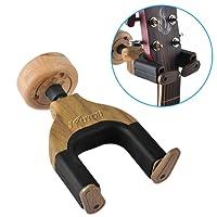 Guitar Hook, Guitar Wall Hanger Auto Lock Hook Holder Wall Mount Bracket for Home Studio Guitar,Bass,Multiple Musical Instruments (1 Pack) (Brown)