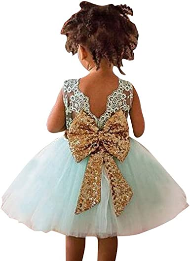 UK Cute Newborn Kid Baby Girls Floral Party Pageant Dress Wedding Bow Knot Dress