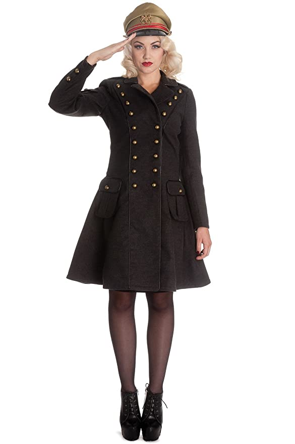 Steampunk Plus Size Clothing & Costumes Hell Bunny Spin Doctor Imma Military Officer Gothic Steampunk Army Jacket Coat $169.99 AT vintagedancer.com