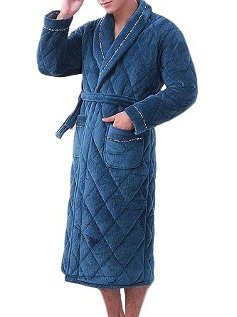 GKKXUE Camisón de invierno de los hombres Pijamas de terciopelo coral acolchados (Color : Azul