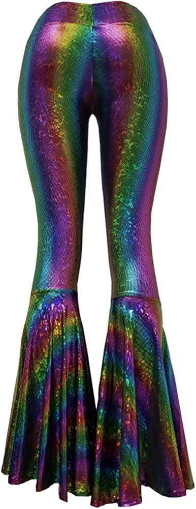 Iridescent Mermaid Scale Party Halloween Costumes Holographic High Waisted Wide Leg Yoga Bell Bottoms Flare Pants Leggings