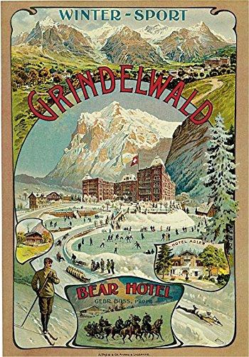 - MAGNET 1893 Grindelwald Bear Hotel Switzerland Art Travel Advertisement Magnet Print