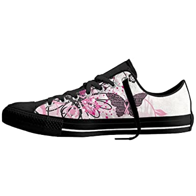 Amazon com: Pink Ribbon Butterfly- Breast Cancer Low-Top Sneaker