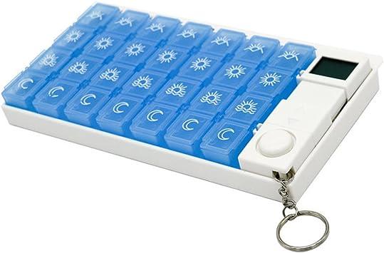 rosenice pastillero con alarma electrónico caja para pastillas portatil con 28 compartimentos mensual de azul: Amazon.es: Salud y cuidado personal