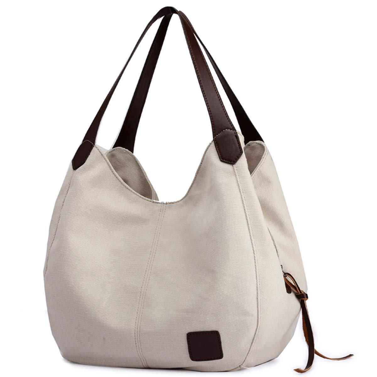 DOURR Women's Multi-pocket Shoulder Bag Fashion Cotton Canvas Handbag Tote Purse (Beige)