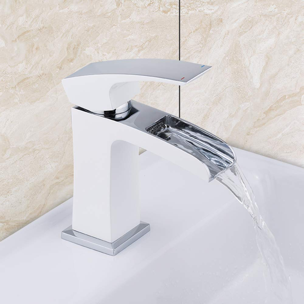 IFELGUD Basin Faucets waterfall basin mixer white and chrome bathroom sink faucet taps brass mixer chrome faucet basin