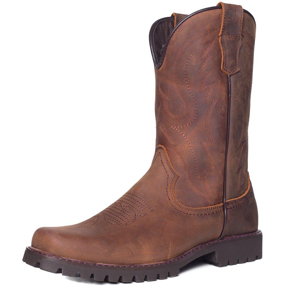 J's.o.l.e Men's Square Toe Western Cowboy Boot Brown US 13