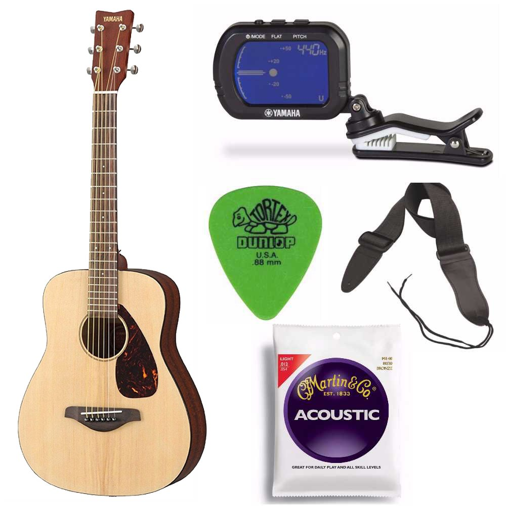 Yamaha JR2 Natural 3/4 Scale Guitar Bundle with Gig Bag, Strap, Strings, Clip-on Chromatic Tuner and Picks