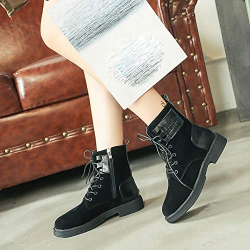 Seaintheson Zipper Boots Women Fashion Winter Warm Solid Flock Ankle Booties Boots Round Toe Shoes