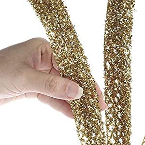 Factory Direct Craft Group of 6 Gold Glitter and Tinsel Artificial Fern Frond Picks for Embellishing Florals, Centerpieces, and More 3