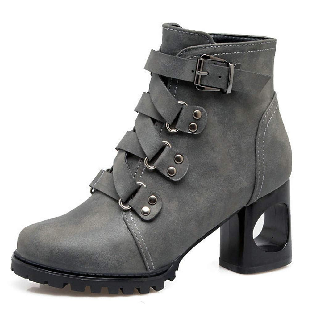Women Motorcycle Ankle Boots | Ladies Fashion Cool Lace Up Buckle Combat Booties | Stylish Round Toe Medium Chunky Heel Side Zip Shoes by Leadmall-Boot
