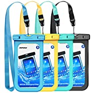 Mpow Waterproof Phone Pouch, IPX8 Universal Waterproof Case Underwater Dry Bag 4-Pack Compatible for iPhone X/8/8P/7/7P, Galaxy S9/S9P/S8/Note 8, Google Pixel/HTC up to 6.0""