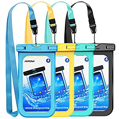 """Mpow Waterproof Phone Pouch, IPX8 Universal Waterproof Case Underwater Dry Bag 4-Pack Compatible for iPhone X/8/8P/7/7P, Galaxy S9/S9P/S8/Note 8, Google Pixel/HTC up to 6.0"""""""