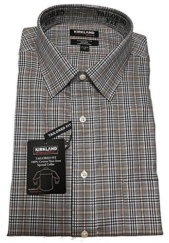 33 Wrinkle Free Dress Shirt - Kirkland Signature Men's Long Sleeve Button Down Dress Shirts (16 1/2 x 32/33, Brown/Black/White Checks)