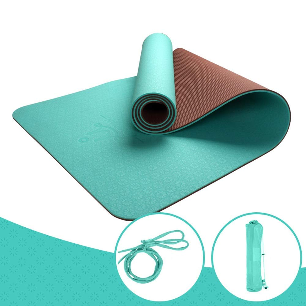 LS-Exercise Fitness Yoga Mat - Male and Female Beginners Fitness Yoga Multi-Function Three-Piece Set of Tasteless Non-Slip Yoga Mat [8 Color Optional]& (Color : Matcha Green, Size : 6mm)