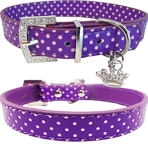 WwWSuppliers Adjustable Bling Crown Black & White Polka Dots Crystals Diamonds Rhinestones Dog Puppy & Cat Fancy Sparkling Elegant Fashion Collar (Purple, - Polka Cat