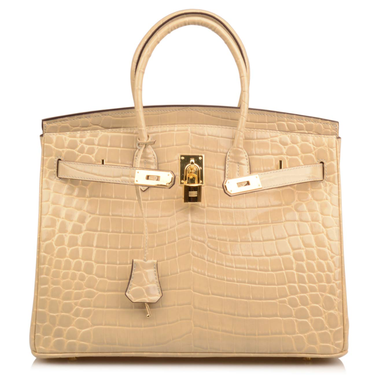 Qidell Women's Padlock Patent Leather Crocodile Embossed Handbag On Clearance (35 cm.Taupe)