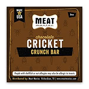 Meat Maniac Roasted Edible Insects (Chocolate Cricket Crunch Bar 3oz)