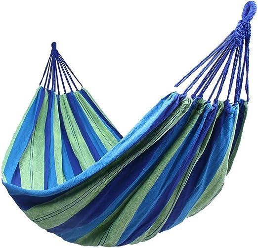 Hamacas Colgantes Jardin Exterior Algodon Lona Hamaca Portátil al Aire Libre Acampada Viaje para una Persona Carga de 150 kg Colorido (1 Persona, Azul): Amazon.es: Jardín