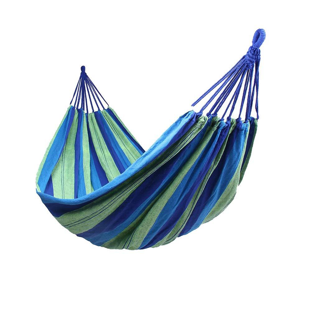 Hipier Amaca da Giardino Matrimoniale in Cotone da Campeggio Viaggio Interni ed Esterni Portata Massima 300 kg Multicolori (2 Persone, Blu)