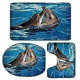 3 Piece Bath Mat Rug Set,Dolphin,Bathroom Non-Slip Floor Mat,Aqua-Show-Pair-of-Dolphins-Dancing-in-the-Pool-Animal-Family-Tenderness-Love,Pedestal Rug + Lid Toilet Cover + Bath Mat,Blue-Dark-Taupe