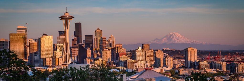 Seattle Skyline at Sunset Panoramic Photo Photograph Cool Wall Decor Art Print Poster 36x12