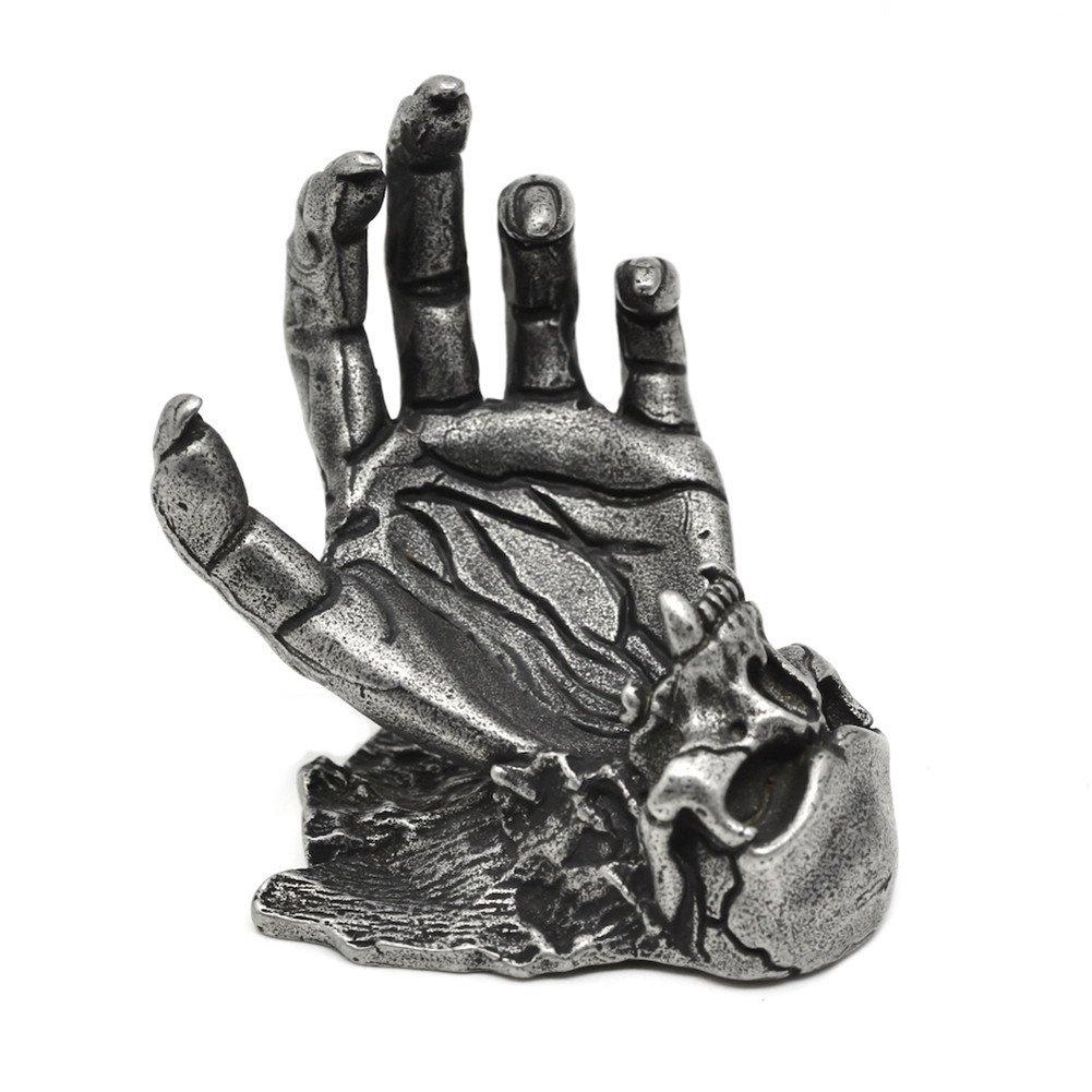 PAMTIER Men's Stainless Steel Vintage Gothic Biker Skeleton Claw Silver Skull Hand Jewelry Making
