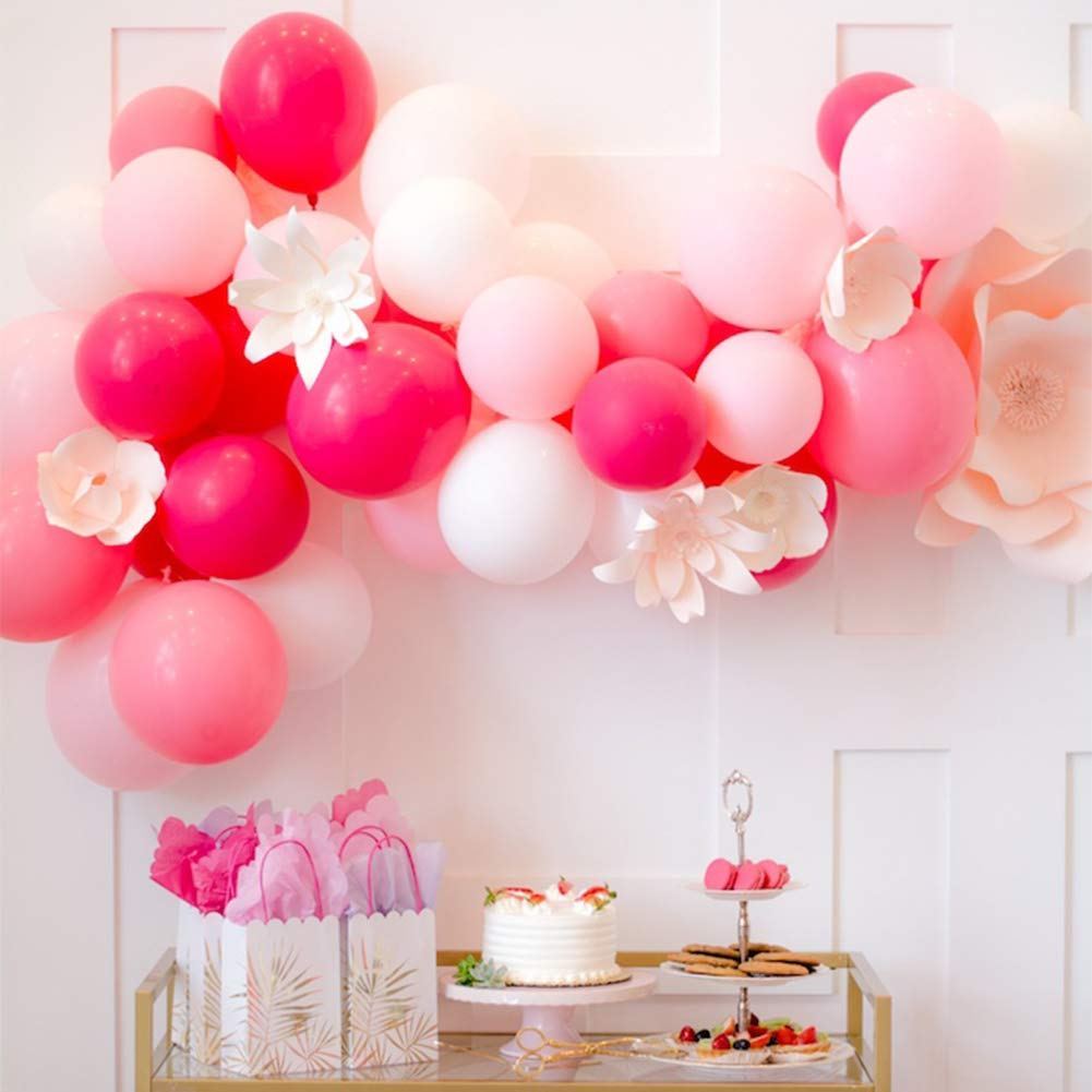 PartyWoo Pink Balloons 100 pcs 12'' Fuchsia Pink Balloons Pink Latex Balloons Pale Pink Party Balloons Hot Pink Balloons and White Balloons for Barbie Party, Hello Kitty Party Supplies, Baby Shower