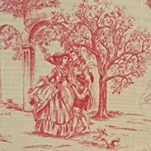 """Red Toile Fabric Direct From France (Toile De Jouy) 