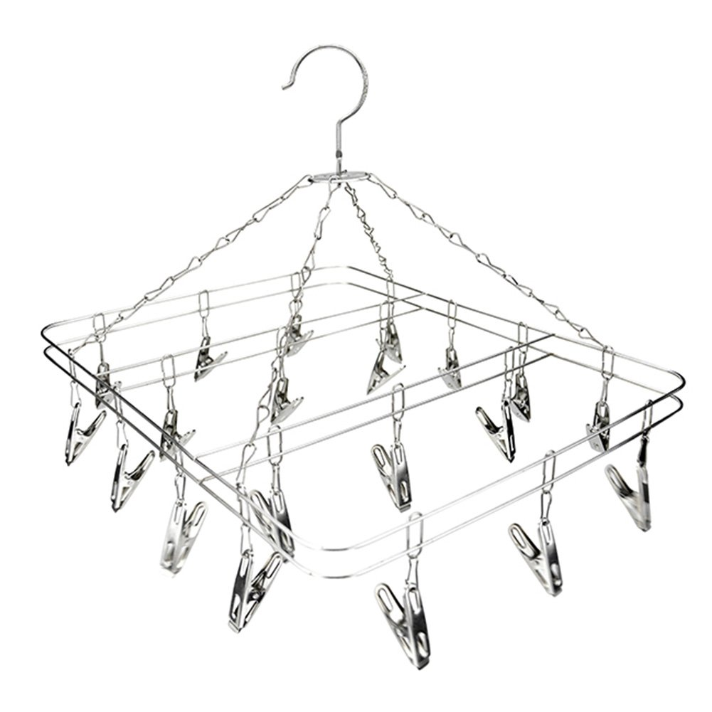 Amazon.com: Socks Drying Rack Square Wire Grip Clip Airer Stainless Steel Underwear Pegs Hook Hanger Dryer for Outdoor, Laundry, Clothes, Socks, ...