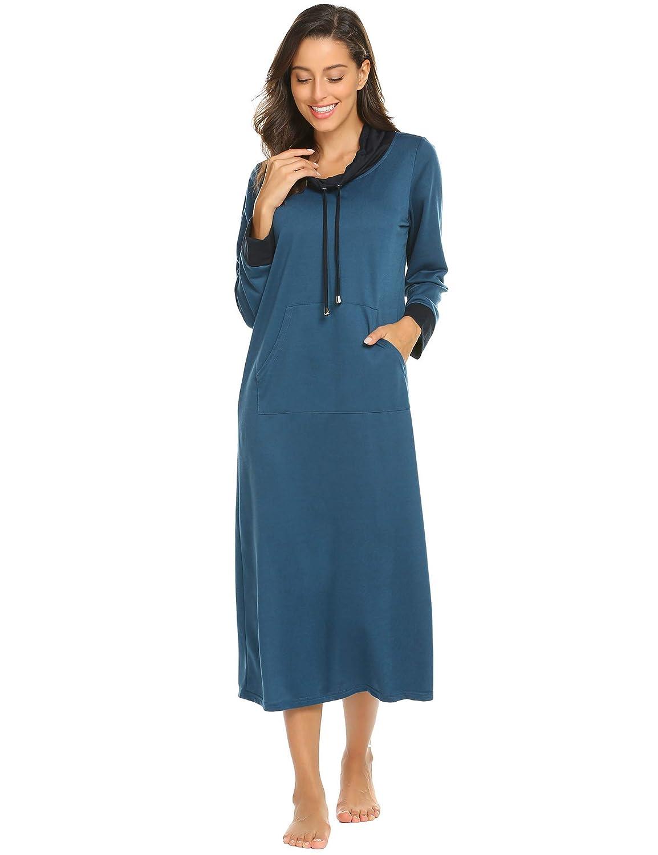 Ekouaer Long Nightgown Women Long Sleeve Loungewear Oversized Nightshirts  Full Length Sleepwear Nightdress M-XXXL EKK009739 2e5954294