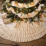 Creme Burlap Cotton Ruffled Christmas Tree Skirt 48 Inches Holiday Decorations