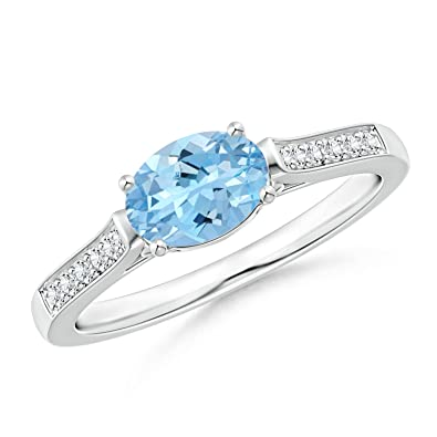 Angara East West Set Oval Aquamarine Solitaire Ring With Diamond Accents r0MfuxPw