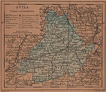 Mapa De Avila Capital.Amazon Com Avila Avila Castilla Y Leon Mapa Antiguo De