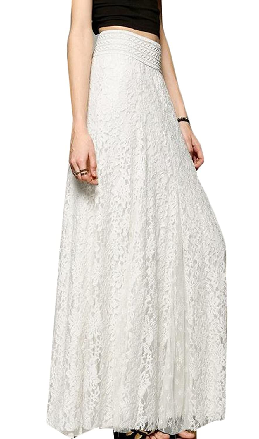 KXP Womens Summer Solid Lace High Waist Fashion Maxi Long Skirt