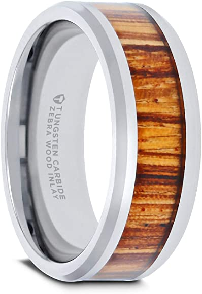 COPAUL Free Engraving-Personalized Custom Message 8MM Tungsten Ring Wood Inlay Wedding Band