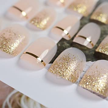 echiq color nude rosa francés uñas postizas Shimmer - Purpurina oro línea falsas uñas consejos Full Cover Patch arte herramienta Lady desgaste novia ...