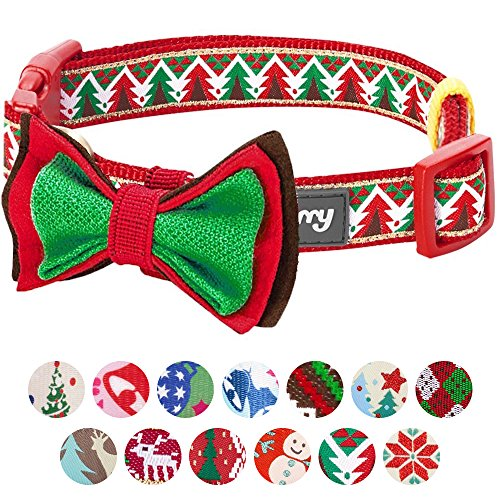 Blueberry Pet 14 Patterns Christmas Charm Breezy Trees Dog Collar with Detachable Bow Tie, Small, Neck 12