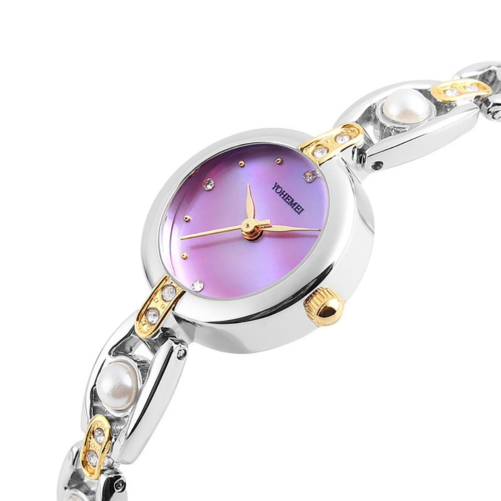 TIDOO Women's Water Resistant Watch Two-Tone Inlay Pearl Bangle Watch(Purple)