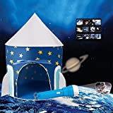 Tomatep Space Rocket Ship Play Tent, with Outer Space Torch Projector,Foldable Pop Up Kids Tent for Indoor & Outdoor By (Tent with Torch)