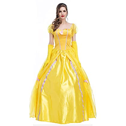 813fa10ade0f XSHUN Women Luxury Yellow Princess Long Dresses Halloween Cosplay Princess  Costume (M)