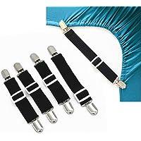 GreeSuit Adjustable Bed Sheet Fasteners Suspenders Corner Holders Elastic Straps Clips Grippers (Set of 4, Black)