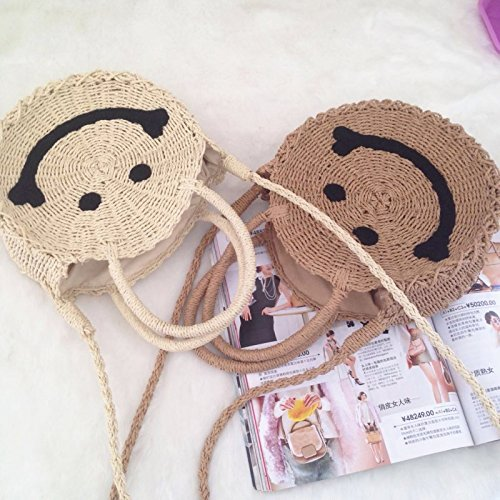 Bag and Women Shoulder Crossbody Purse Straw Smile Brown Bag Summer Beach Round Weave Handbags Light EXvIExqw