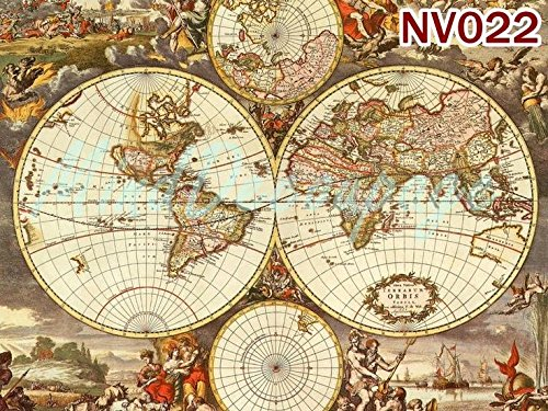 A4 // 20x25 cm World map Paper for decoupage Vintage Style Total 3 Sheets
