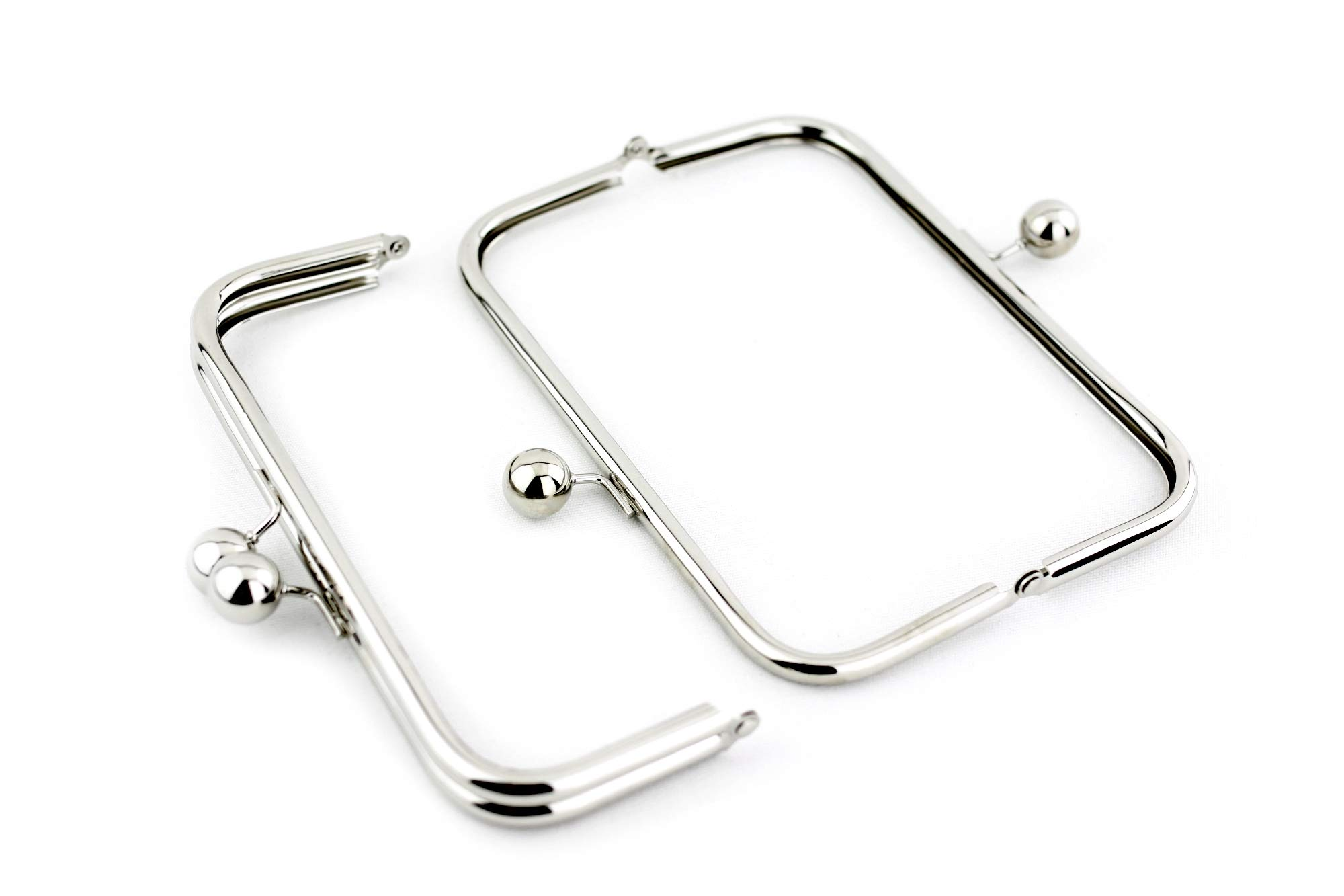8 x 3 inch - Huge Ball Closure - Silver Large Kisslock Purse Frame - 10 PIECES by SUPPLY4BAG (Image #2)