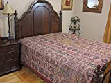 NovaHaat India Inspired Hand Embroidered Tapestry Bedspread Unique Coral Pink Ethnic Room Décor Bedding ~ Queen 108 Inch X 90 Inch
