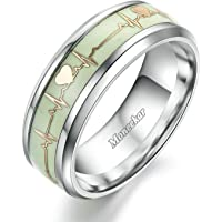 Moneekar Jewels Fashion Dark Luminous ECG Heartbeat Titanium Ring Promise Heartbeat Glow in Dark Ring for Men Women